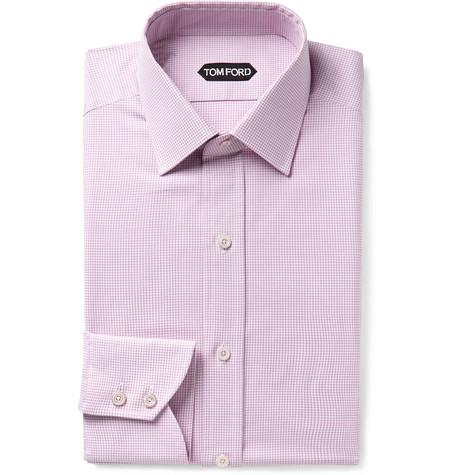 TOM FORD - Pink Slim-Fit Micro-Gingham Cotton Shirt - Men - Pink