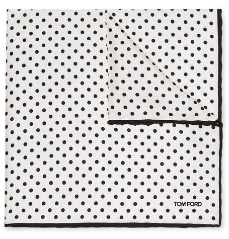 TOM FORD - Polka-Dot Silk-Twill Pocket Square - Men - White