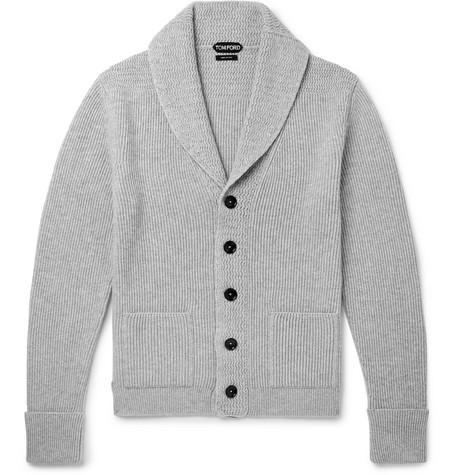 TOM FORD - Shawl-Collar Ribbed Cashmere Cardigan - Men - Gray