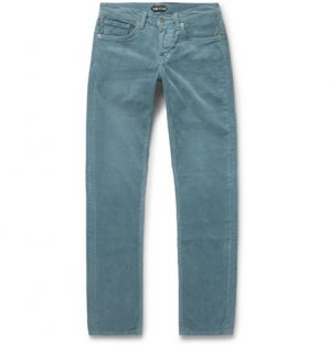 TOM FORD - Skinny-Fit Cotton-Corduroy Trousers - Men - Blue