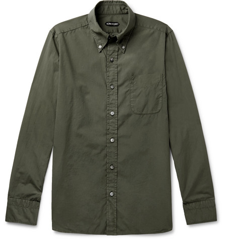 TOM FORD - Slim-Fit Button-Down Collar Washed-Cotton Shirt - Men - Green