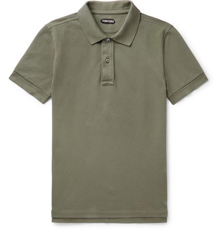TOM FORD - Slim-Fit Garment-Dyed Cotton-Piqué Polo Shirt - Men - Army green