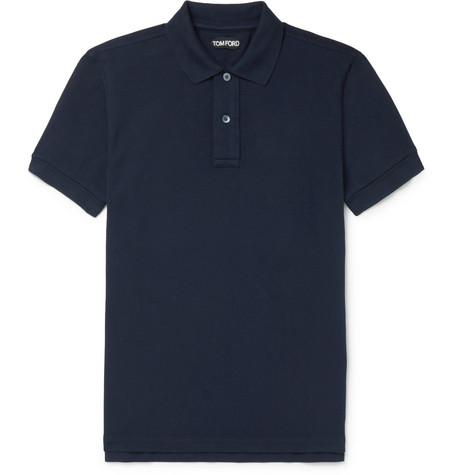 TOM FORD - Slim-Fit Garment-Dyed Cotton-Piqué Polo Shirt - Men - Navy