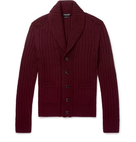 TOM FORD - Slim-Fit Shawl-Collar Ribbed Wool Cardigan - Men - Burgundy