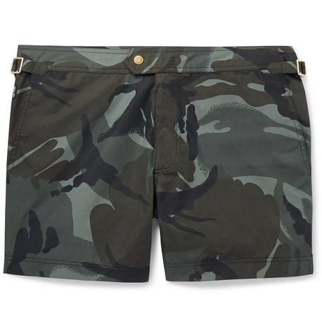 TOM FORD - Slim-Fit Short-Length Camouflage-Print Swim Shorts - Men - Gray green