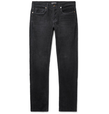TOM FORD - Slim-Fit Stretch-Cotton Corduroy Trousers - Men - Gray