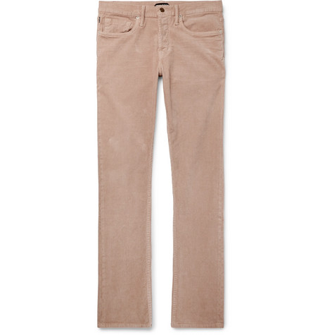 TOM FORD - Slim-Fit Stretch-Cotton Corduroy Trousers - Men - Pink