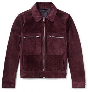 TOM FORD - Slim-Fit Suede Blouson Jacket - Men - Burgundy