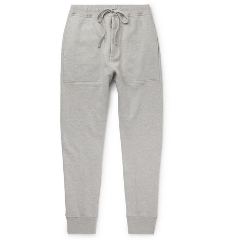 TOM FORD - Slim-Fit Tapered Loopback Cotton-Jersey Sweatpants - Men - Gray