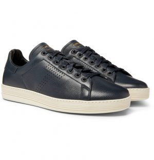 TOM FORD - Warwick Perforated Full-Grain Leather Sneakers - Men - Navy