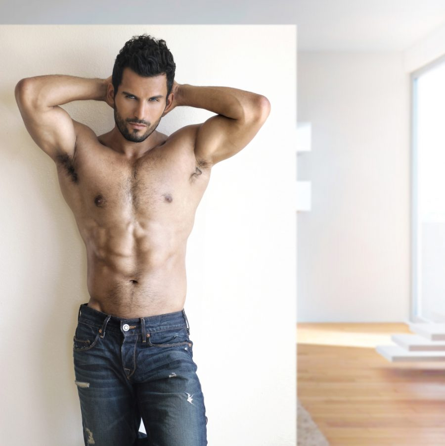 Tan Male Model Posing Shirtless in Denim Jeans