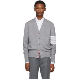 Thom Browne Grey Merino Wool 4-Bar Cardigan