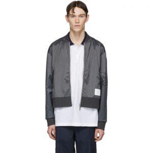 Thom Browne Grey Ripstop Bomber Jacket