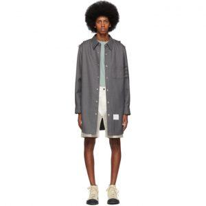Thom Browne Grey Twill 4-Bar Snap Front Shirt Jacket