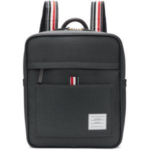Thom Browne Grey Zip Top Book Backpack