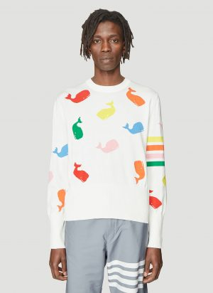 Thom Browne Whale Intarsia Knit Sweater in White size JPN - 2