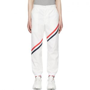 Thom Browne White Diagonal Stripe Unconstructed Track Pants