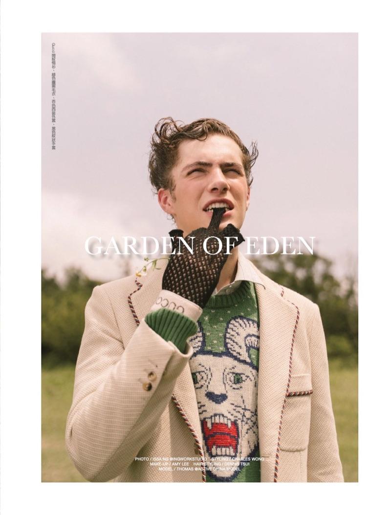 Garden of Eden: Thomas Jansen in Gucci for Men's Uno Hong Kong