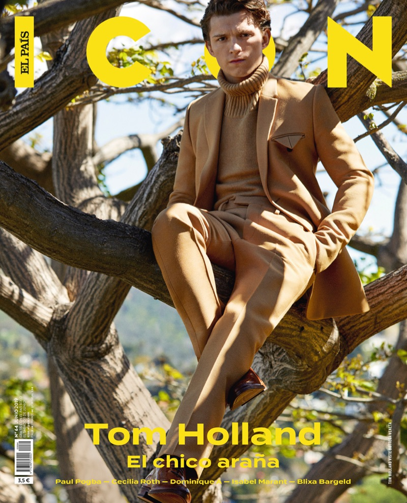 Donning a chic camel-colored look, Tom Holland covers the June 2019 issue of Icon El País.