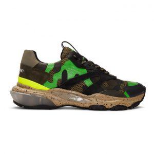 Valentino Brown and Green Valentino Garavani Camo Bounce Sneakers