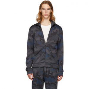 Valentino Navy Camo Zip-Up Sweater