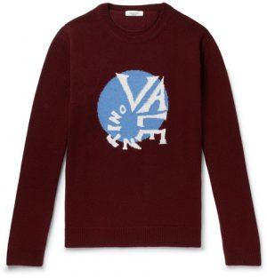 Valentino - Oversized Logo-Intarsia Virgin Wool and Cashmere-Blend Sweater - Men - Burgundy