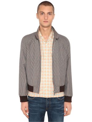 Wool & Mohair Check Bomber Jacket