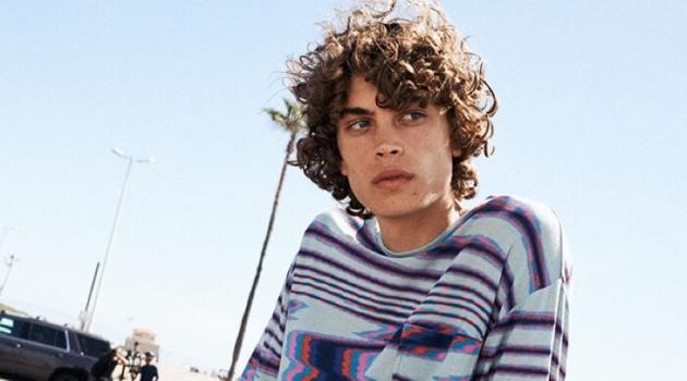 Lucas Bin rocks a Missoni sweater with Stüssy tie-dye shorts.