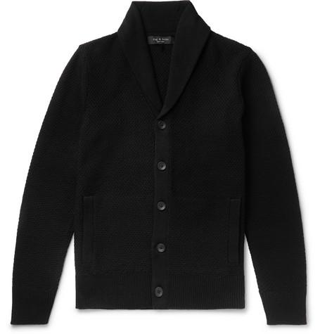 rag & bone - Cardiff Shawl-Collar Merino Wool and Cotton-Blend Cardigan - Men - Black