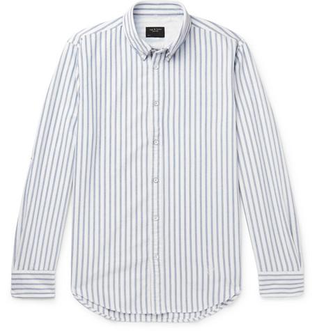 rag & bone - Fit 2 Tomlin Slim-Fit Button-Down Collar Striped Cotton Shirt - Men - White