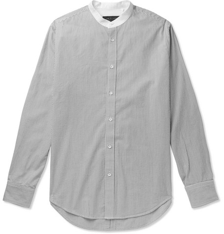 rag & bone - Grandad-Collar Striped Cotton Shirt - Men - Gray