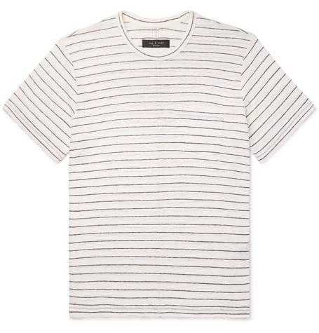 rag & bone - Striped Slub Linen-Jersey T-Shirt - Men - Beige
