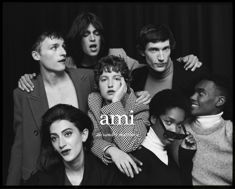 Models Angele Deschamps, Sebastian Chaumeton, Matthias El Koulali, Isabella Jahns, Thilo Muller, Nora Uchenna Omeire, and Samer Rahma star in AMI's fall-winter 2019 campaign.