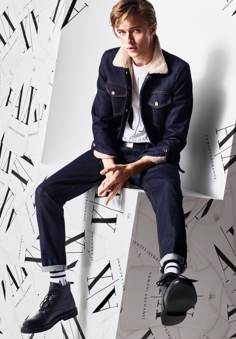 Doubling down on denim, Lucky Blue Smith stars in Armani Exchange's fall-winter 2019 campaign.