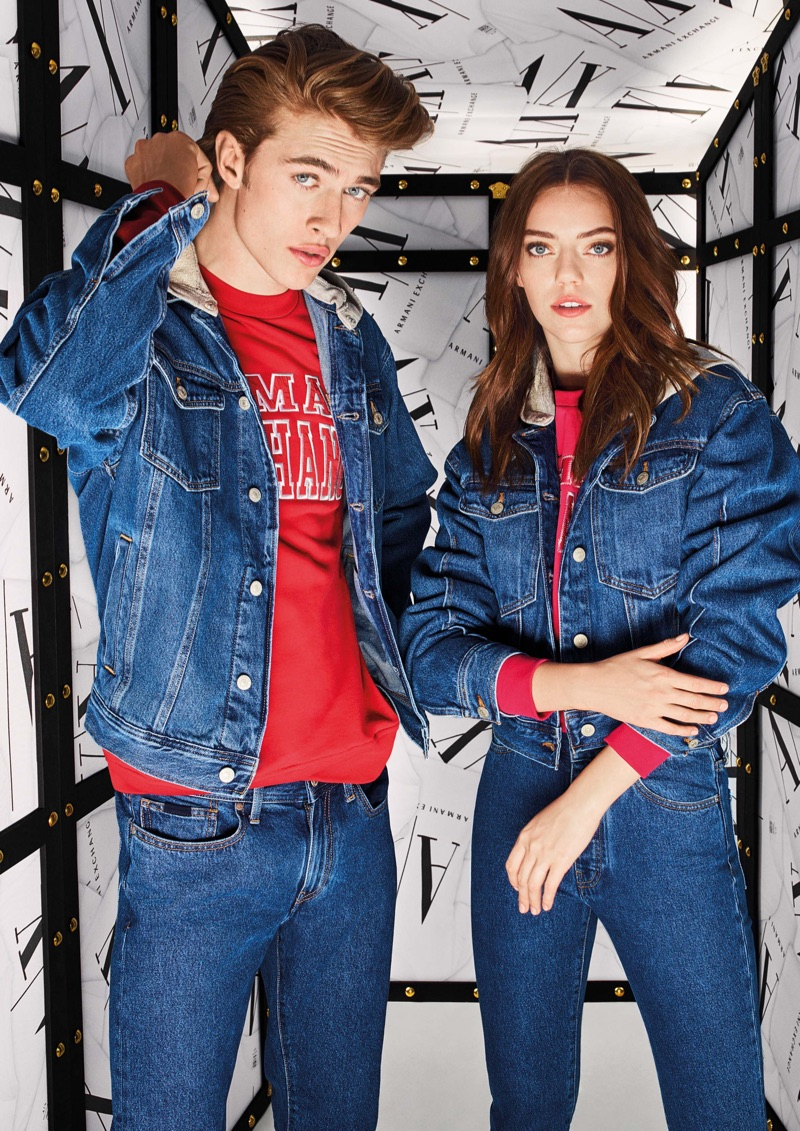 Clad in denim, Lucky Blue Smith and his sister Pyper America appear in Armani Exchange's fall-winter 2019 campaign.
