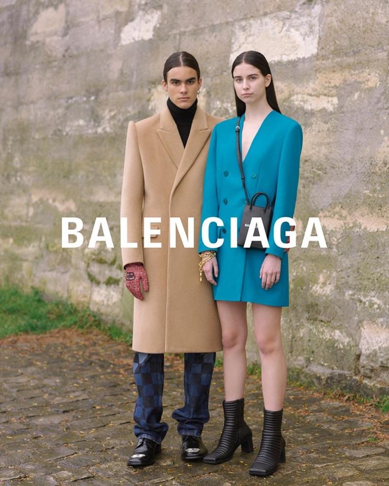 Pedro and Arina appear in Balenciaga's fall-winter 2019 campaign.