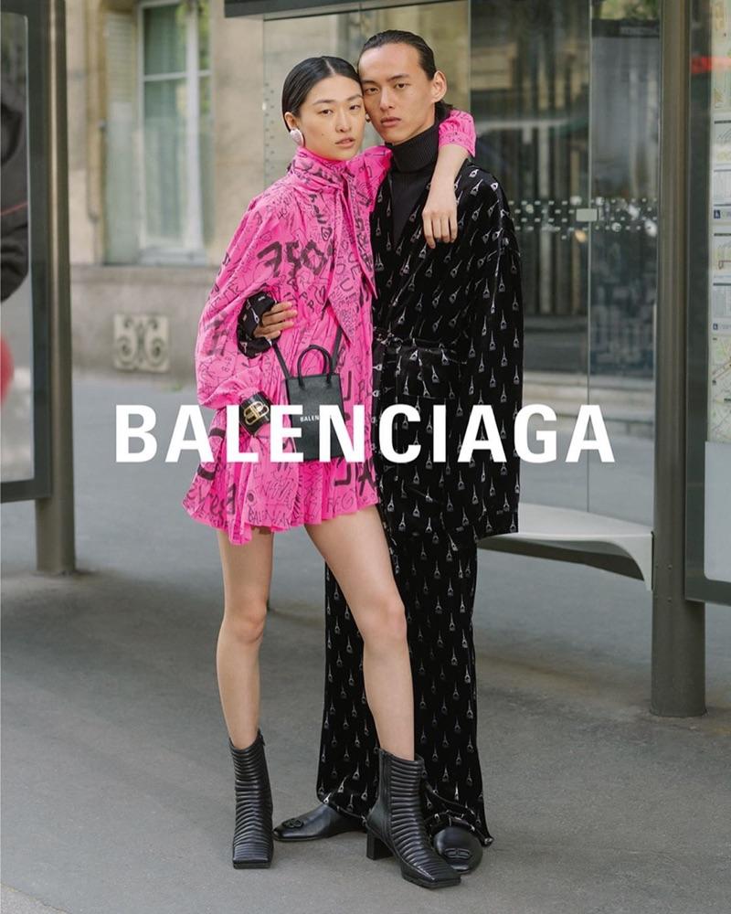 Models Chu Wong and David Yang couple up for Balenciaga's fall-winter 2019 campaign.