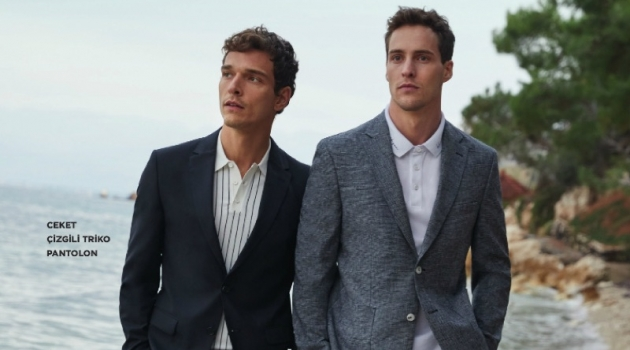 Donning suiting, Alexandre Cunha and James Campbell take to the beach in Beymen Club.