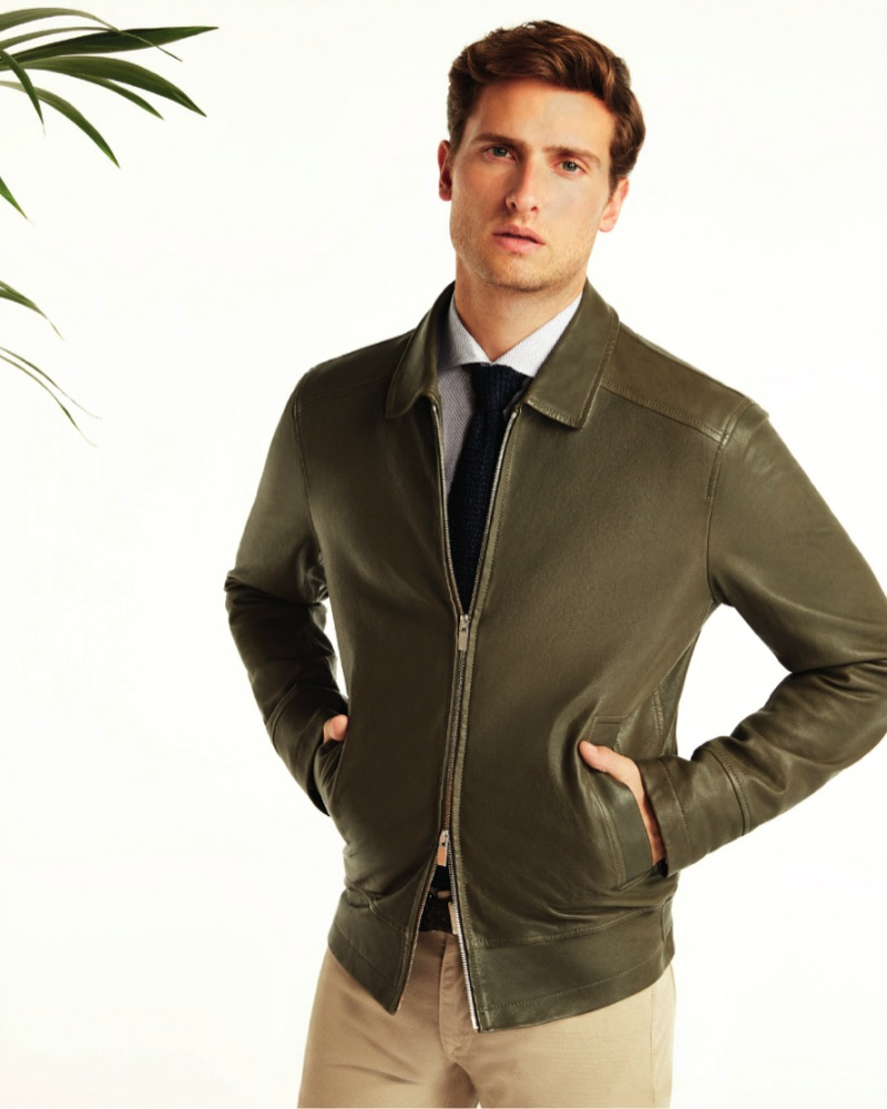 Front and center, Tom Warren is pictured in a Beymen Collection leather jacket.