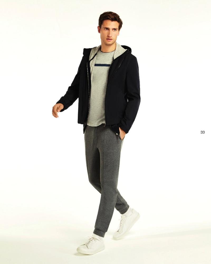 Going sporty, Tom Warren wears Beymen Collection.