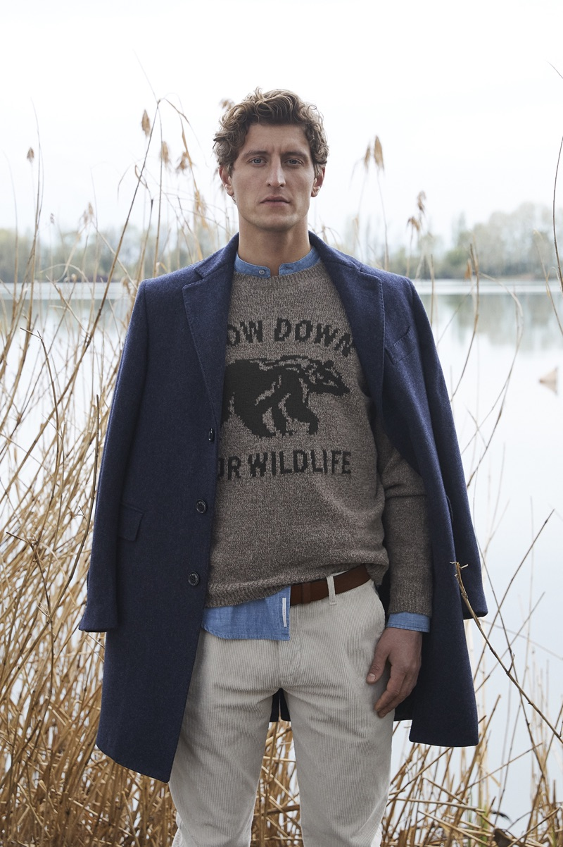 Chris Beek sports a look from Brooksfield's fall-winter 2019 men's collection.