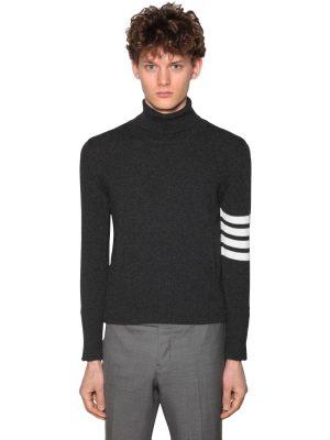 Cashmere Knit Sweater W/4 Bar Detail