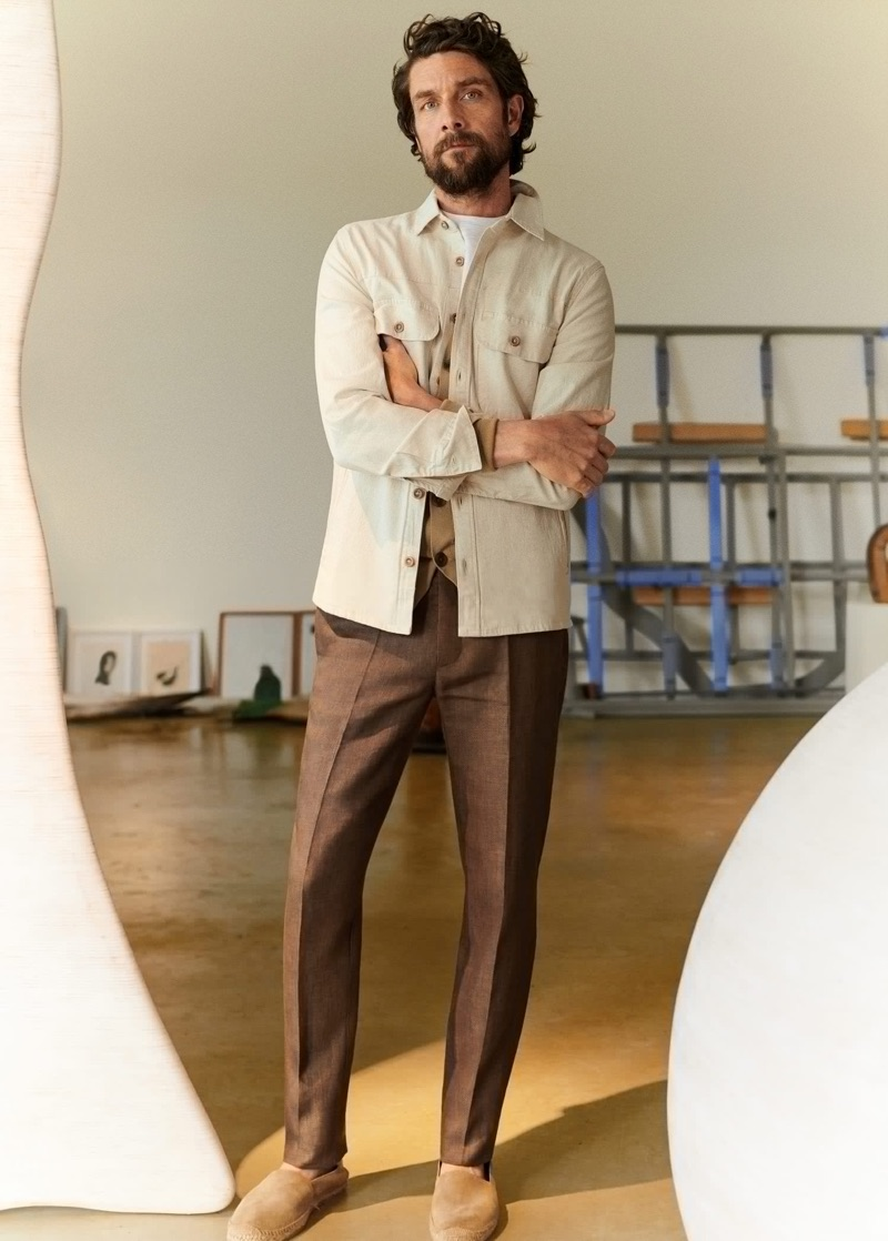 Cédric Bihr dons sleek neutrals from Mango Man.