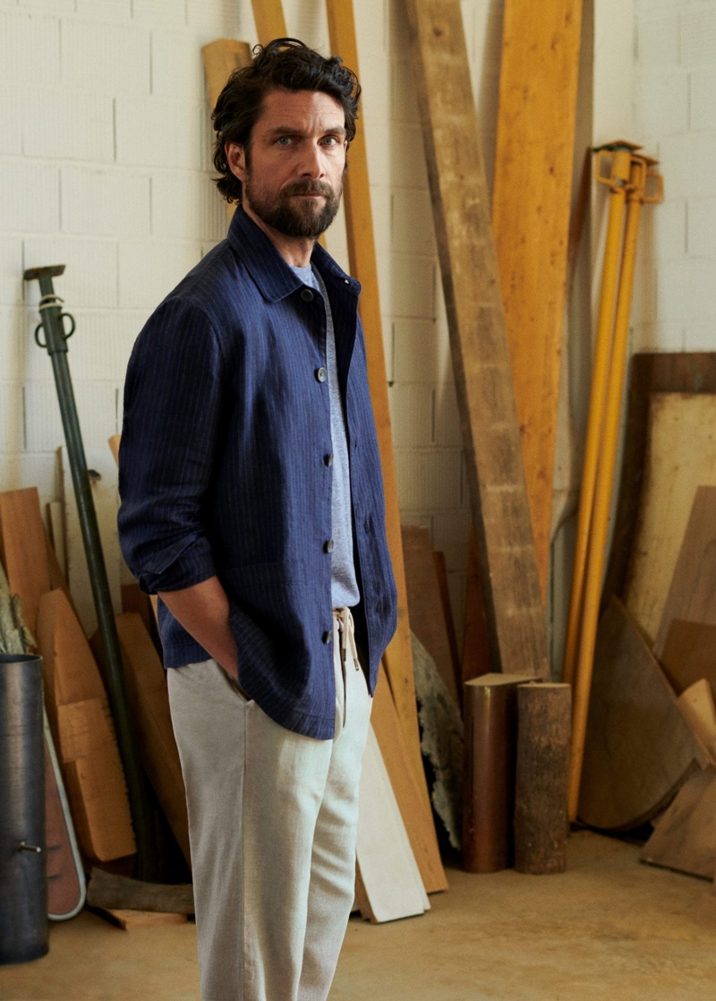 Embracing relaxed proportions, Cédric Bihr dons linen fashions from Mango Man.
