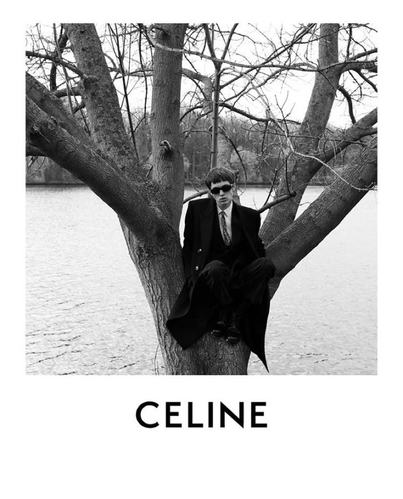 A cool vision, Tobias Vincentz stars in Celine's fall-winter 2019 men's campaign.