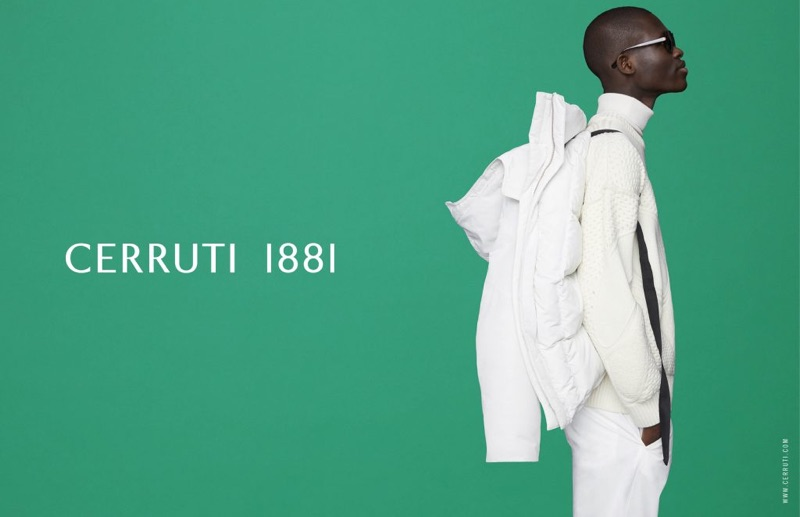 Ismael Savane sports an all-white look as he appears in Cerruti 1881's fall-winter 2019 campaign.