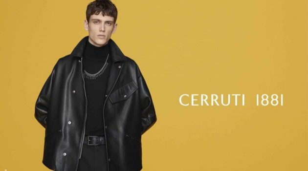 Clad in leather, Xavier Gibson fronts Cerruti 1881's fall-winter 2019 campaign.