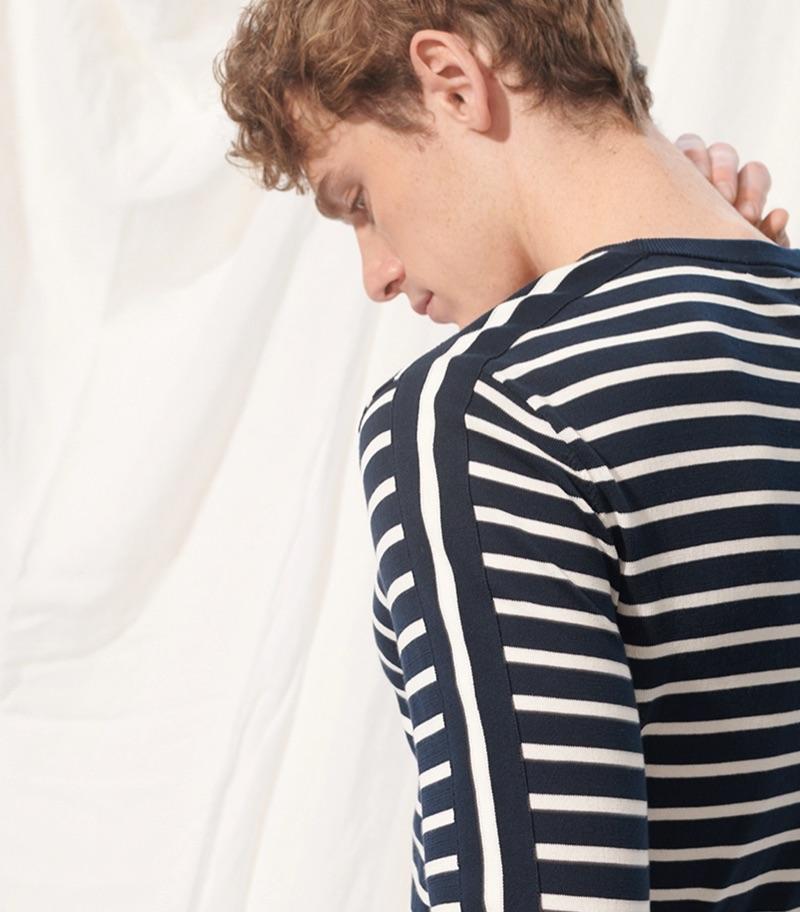 Tom Webb models a Club Monaco strapped stripe crew shirt $129.50.