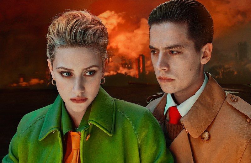 Lili Reinhart and Cole Sprouse don fall looks from Burberry.