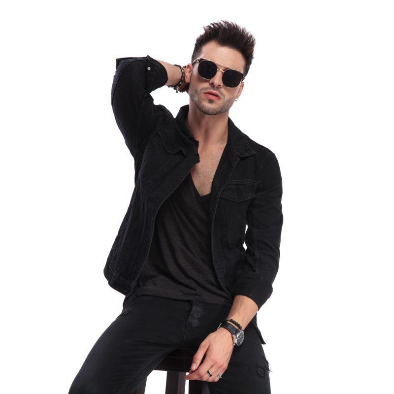 Cool Male Model Dressed in Black Sunglasses Accessories Bracelets Rings